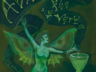 In the late 19th and early 20th century Absinthe was a widely popular drink and became associated with the bohemian artistic and literature movements in Paris. This painting is done in the style of a 1890's French advertisement poster. Acrylic on Canvas