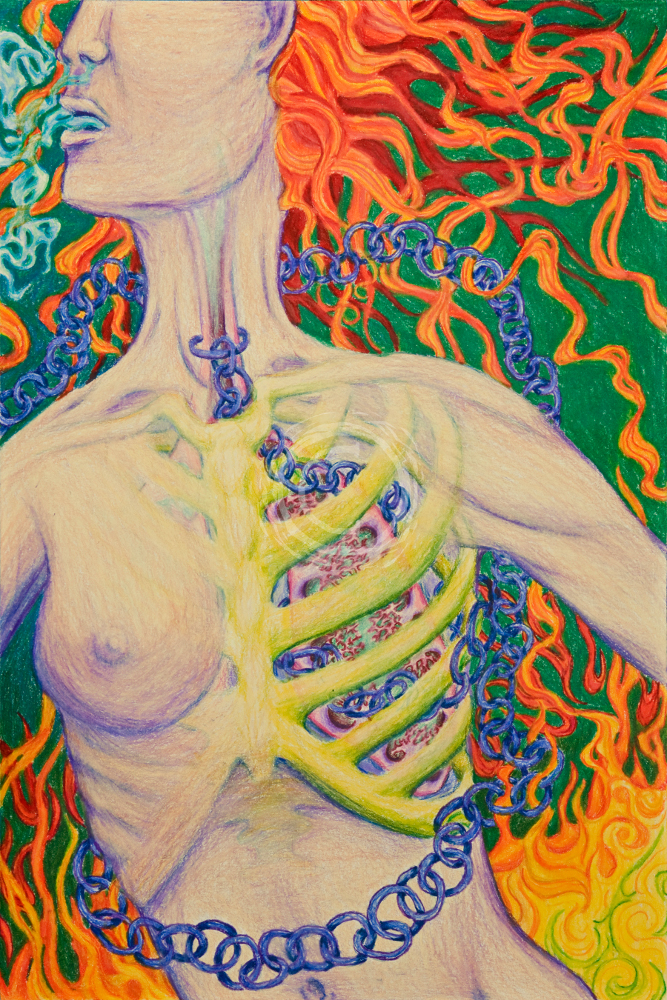 This color pencil drawing shows a chain locked around the windpipe and winding round the lungs and body of a woman who is backed by flames. It depicts the seeming delicacy of the bond to addiction with the thin rings of chain, but they are so fully entwined with her body she is unable to get free and will be consumed. Color Pencil on Paper