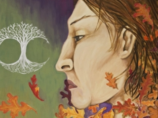 This profile portrait has a woman's face facing a circular design of a leafless silver tree while her shoulders are wreathed in oak leaves. This piece has been altered and is no longer as pictured. Acrylic on Canvas