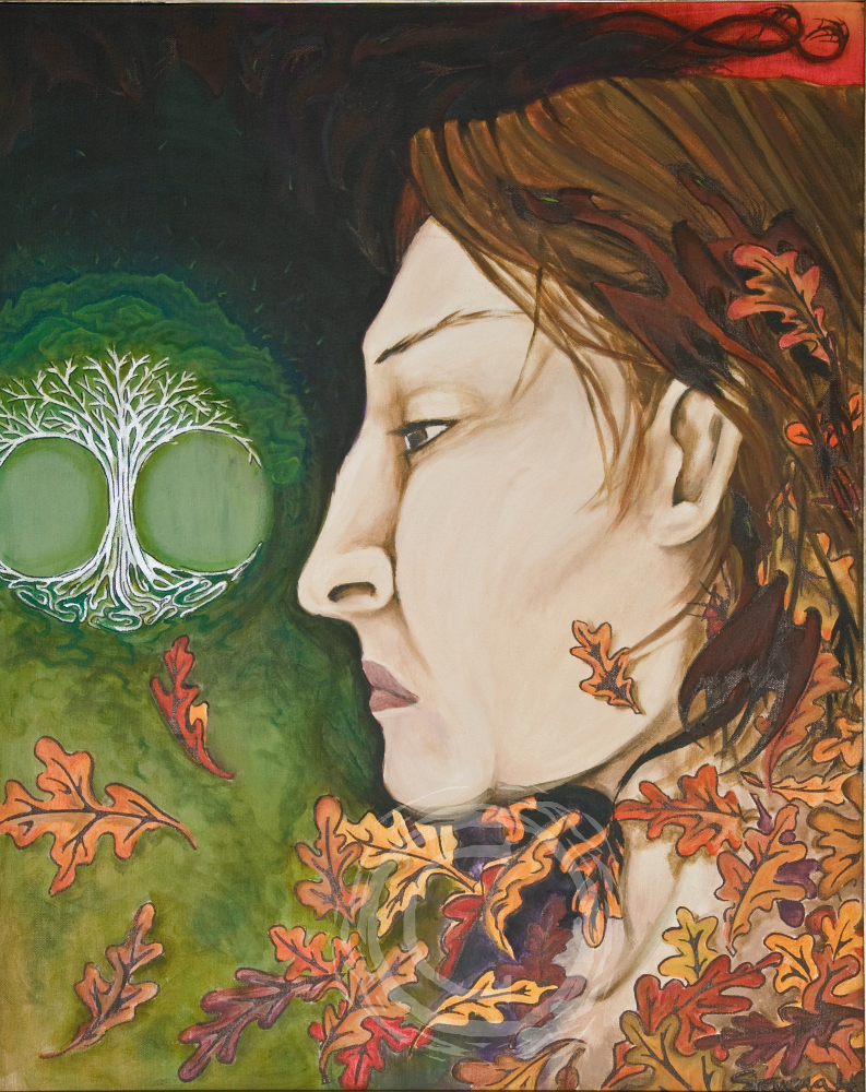 This is the culmination of my work on the Alison Portrait. Small dragons and autumn oak leaves intertwine with her hair and other dragon forms curl like smoke in the background sky. Their green eyes become spark like flecks emanating from the silver oak tree in front of her.