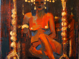 """This was a found canvas piece, entitled """"B★T"""" that was repaired and augmented. Originally it was just a nude study with a rip in the canvas. Now, it depicts a regal woman, nude save for her golden jewelry, on a golden throne.  Acrylic on Canvas"""