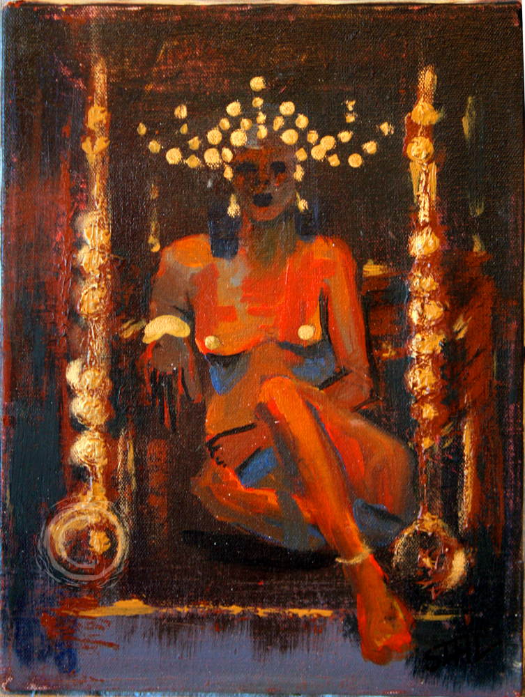 BAT depicts a regal woman, nude save for her golden jewelry, on a golden throne. Acrylic on Canvas