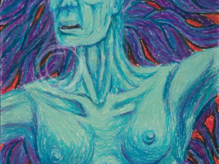 The Irish legend of the Banshee describes long streaming hair, her eyes hollow from continual weeping, and a ghastly complexion. She is the harbinger of death to a loved one. Oil Pastel on Paper
