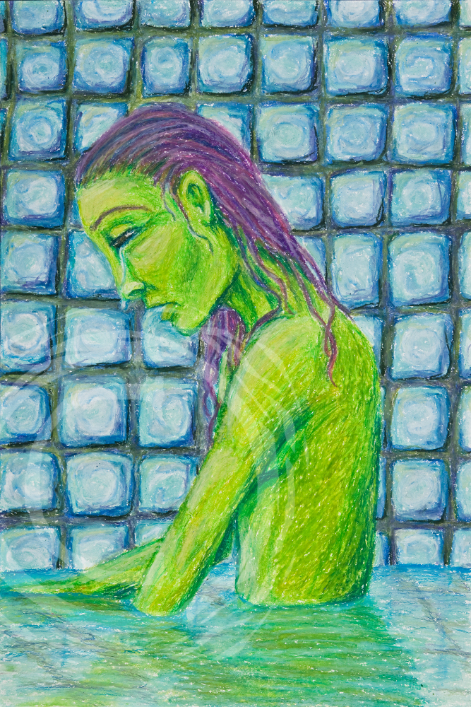 This surrealist picture depicts a thin female figure bathing in a pool of her own tears. Oil Pastel on Paper