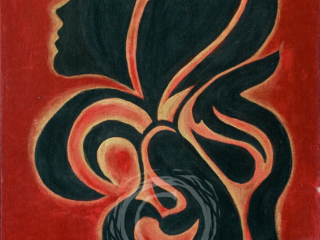 This abstract floral form has a human woman's silhouette on one side. Acrylic on Canvas