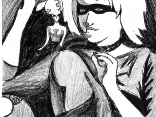 """Portrait of the replicant character """"Pris"""" from the film <em>Bladerunner</em>, based off of the Philip K. Dick novel """"Do Androids Dream of Electric Sheep?"""" This series was revealed at NorWesCon where the annual Philip K. Dick science fiction award is given. Ink and Wax Pigment on Paper"""
