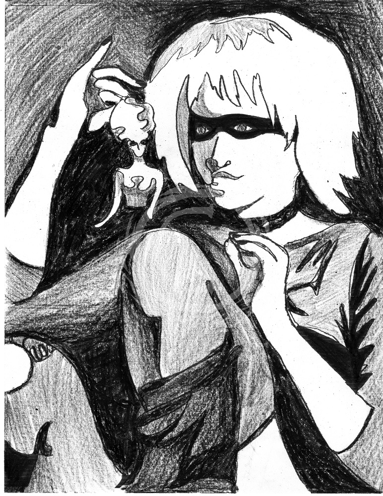 "Portrait of the replicant character ""Pris"" from the film <em>Bladerunner</em>, based off of the Philip K. Dick novel ""Do Androids Dream of Electric Sheep?"" This series was revealed at NorWesCon where the annual Philip K. Dick science fiction award is given. Ink and Wax Pigment on Paper"