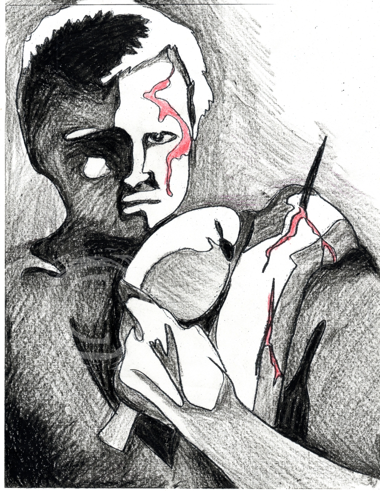 "Portrait of the replicant character ""Roy Batty"" from the film <em>Bladerunner</em>, based off of the Philip K. Dick novel ""Do Androids Dream of Electric Sheep?"" This series was revealed at NorWesCon where the annual Philip K. Dick science fiction award is given. Ink and Wax Pigment on Paper"