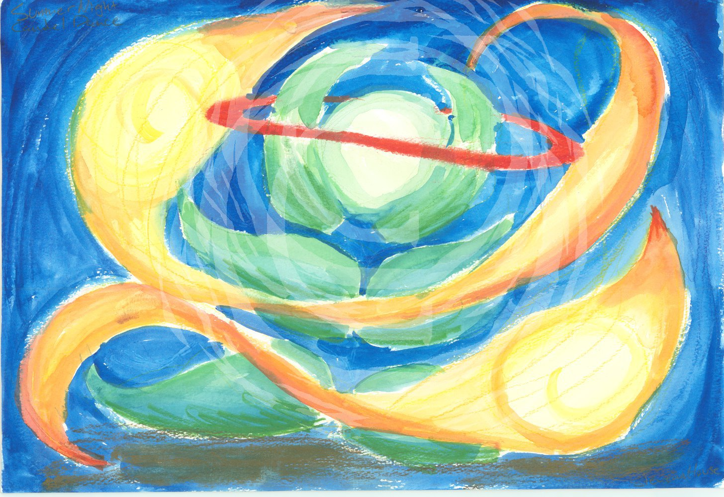 Tis piece shows two balls of flame floating around a green plant whose bud is haloed in red. Watercolor
