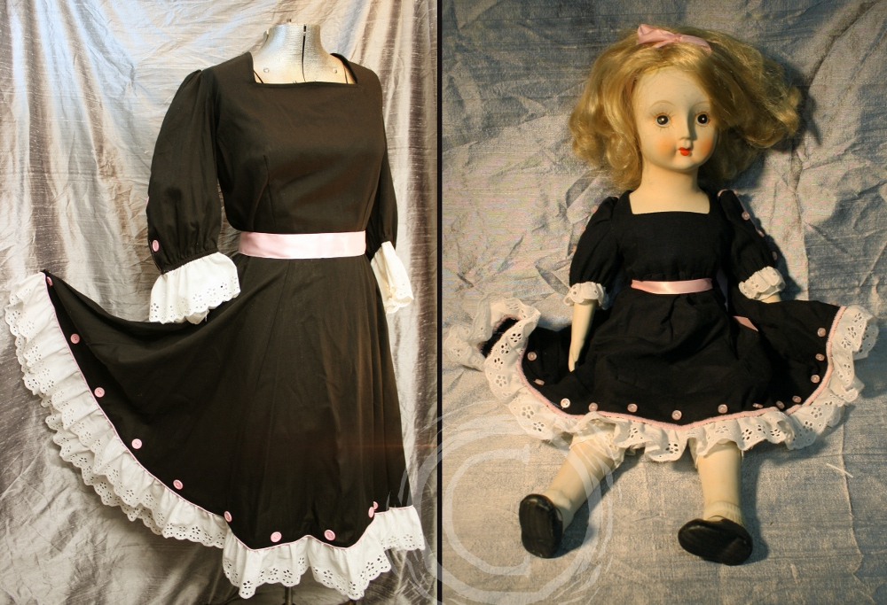 This costume set matched a small doll dress with a full sized version.