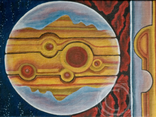 """Part of a continuing planet series, """"Eyes of Jupiter"""" is an abstract representation of the planet Jupiter. The striped and spotted surface of the planet holds two facial profiles. Acrylic on Canvas."""