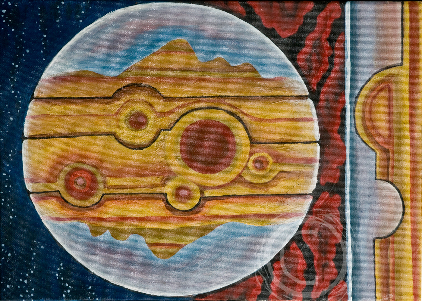 "Part of a continuing planet series, ""Eyes of Jupiter"" is an abstract representation of the planet Jupiter. The striped and spotted surface of the planet holds two facial profiles. Acrylic on Canvas."