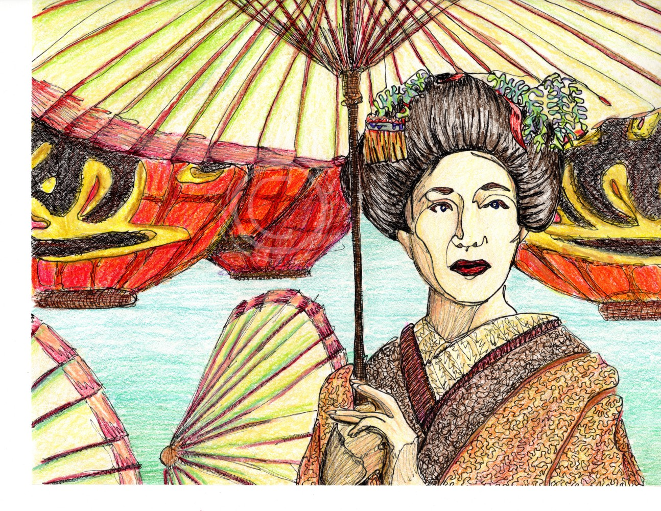 This drawing, based off of a National Geographic photo, shows a woman in Gesha makeup and hair dress holding a paper parasol with red paper lanterns behind her. Ink and Color Pencil on Paper