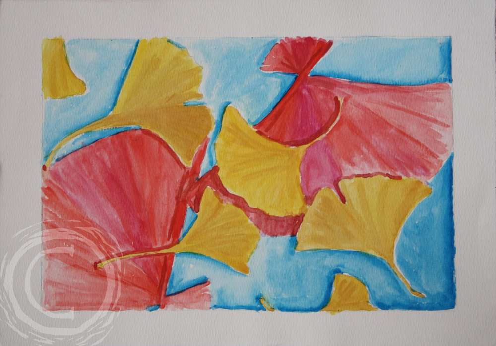 This watercolor has red fans echoing the shape of golden ginkgo leaves.
