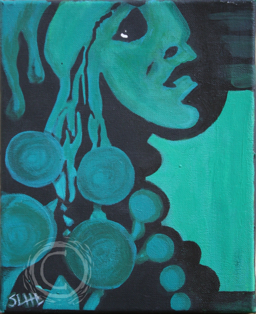 This painting depicts a woman's face either melting down from the top of the canvas or bubbling up from the bottom like a lava lamp. Acrylic on Canvas.