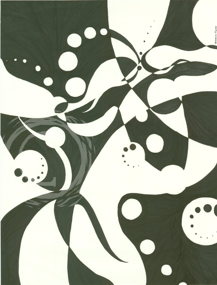 This ink drawing shows the shapes of overlapping ivy leaves with intersecting circles layered on top of each other in black and white. Ink on Paper