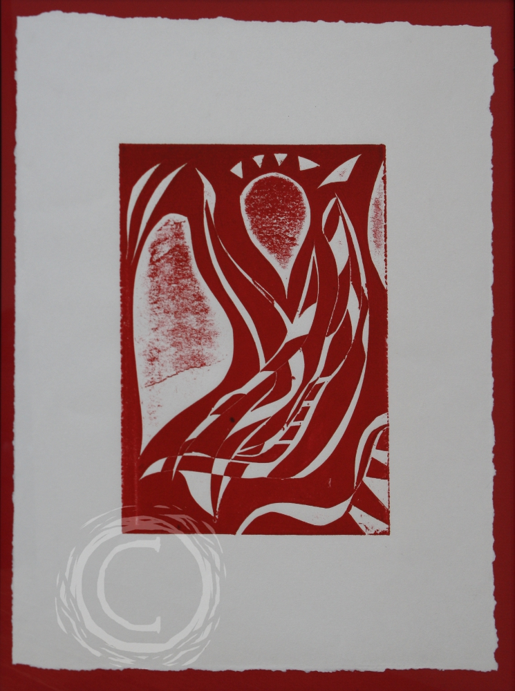 This block print depicts a single float that appears like a floral bud atop the stem. Block Print on Paper
