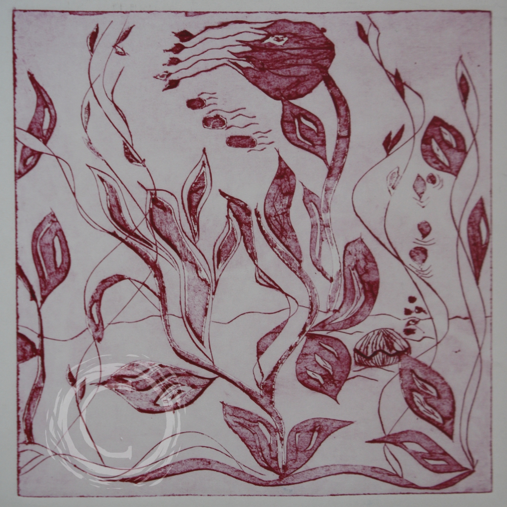 This red ink drawing depicts a kelp forest. Ink on Paper