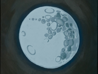 This painting of a moon has a crater pastern in the shape of a unicorn. Acrylic on Canvas