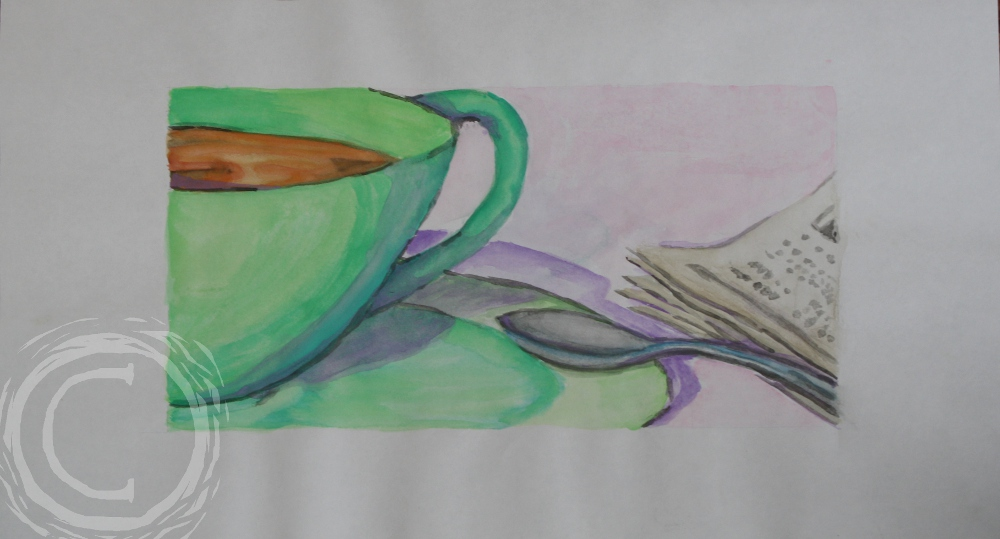 This watercolor still life depicts a cup of morning coffee with a newspaper.
