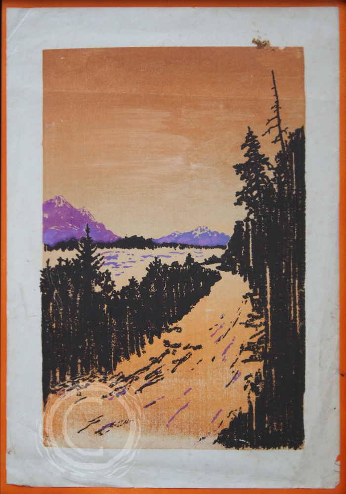 This three part block print depicts an orange sky and purple mountains reflecting on a fog bank filling a river valley edged by Douglas Fir trees. It is not a fully accurate depiction of the Cascades but bares strong resemblance. Block Print on Paper