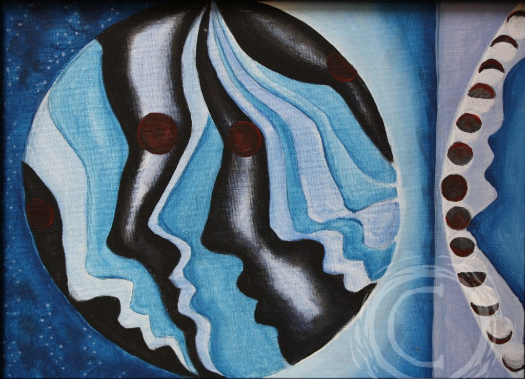 "Part of a continuing planet series, ""Neptune's Daughters"" is an abstract representation of the planet Neptune and its moons."