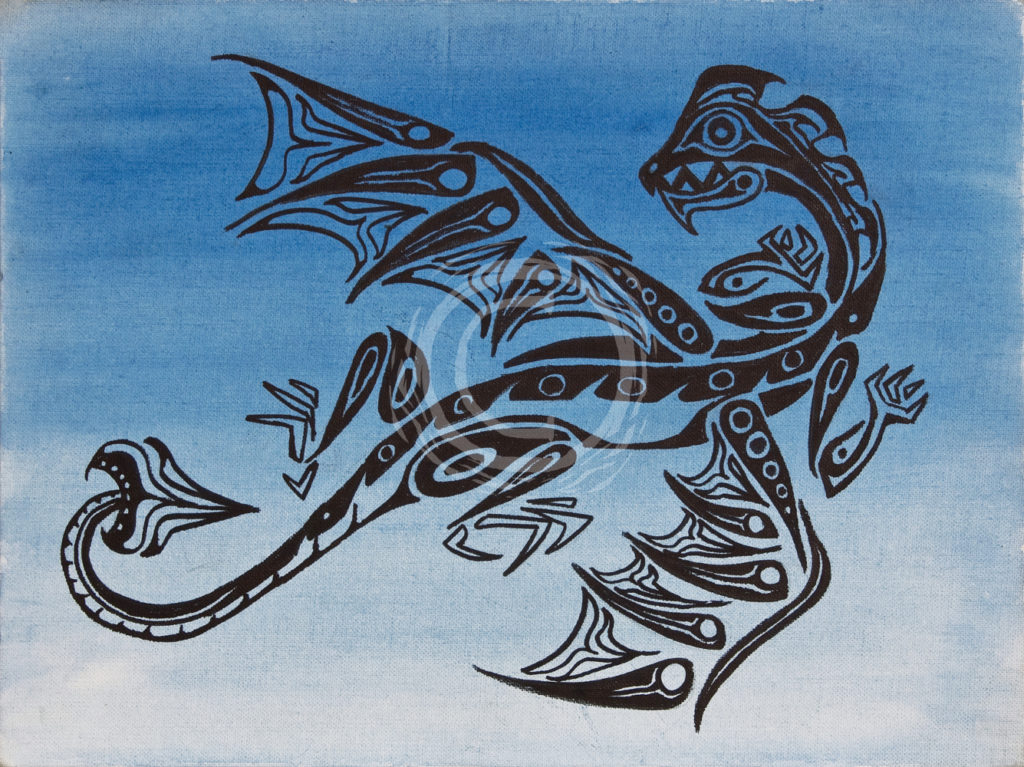 This piece depicts a Western European dragon in the style of Pacific North West indigenous art. The head and wings have elements similar to depictions of orca, fish, and legendary birds like the Thunderbird. Acrylic and Ink on Canvas