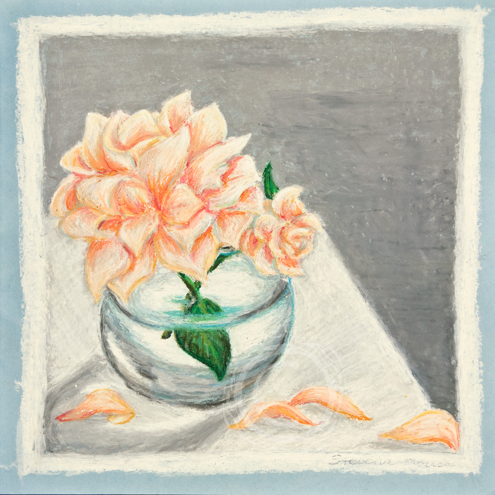 This still life focuses on the refraction of light and distortion of objects through water. Oil Pastel on Paper