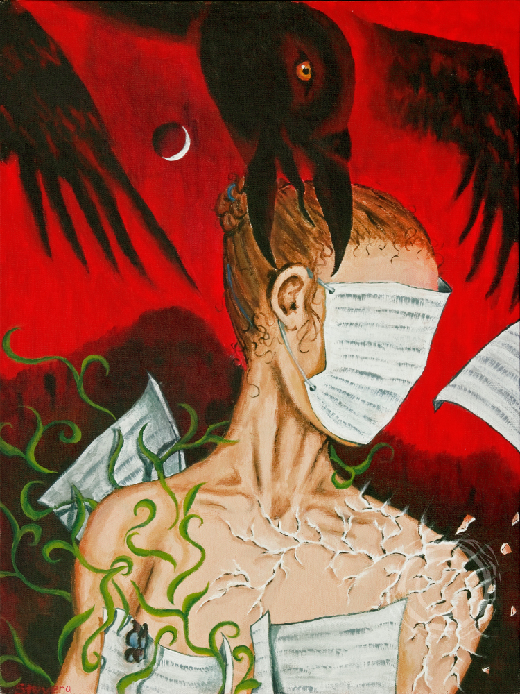 This self portrait piece was inspired by a dream and went through several iterations before completion. A large black corvid speaks into the ear while pages cover the body and face. One shoulder breaks apart in pieces of light while the other sprouts green vines. A crescent moon and black mountain hang in the background. Acrylic on Canvas