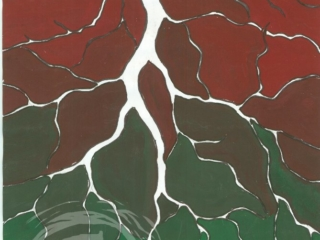 This color tint exercise involves negative space representing roots that branch downward forming chambers filled with colors that shift top down from red to green. Tempera Paint on Paper