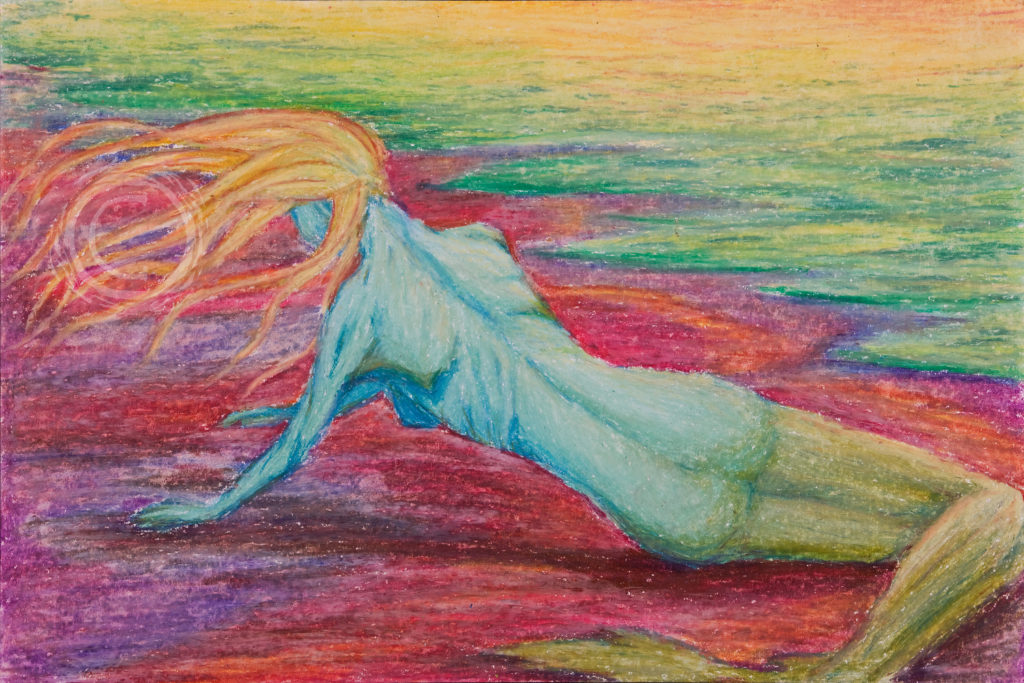 Oil pastel on paper. This piece depicts the mythical mermaid washed ashore on a red sand beach.