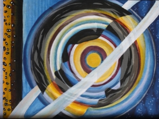 """Part of a continuing planet series, """"Ring for Saturn"""" is an abstract representation of the planet Saturn with hidden human silhouettes. Acrylic on Canvas."""