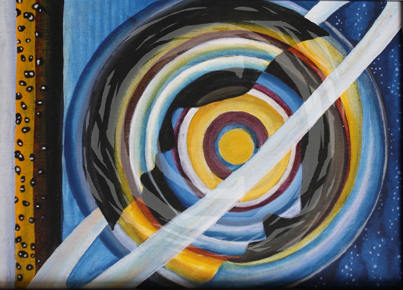 "Part of a continuing planet series, ""Ring for Saturn"" is an abstract representation of the planet Saturn."