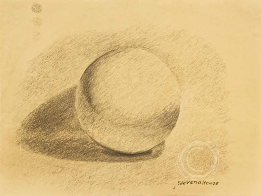 This charcoal shading exercise used a white ball next to a curved white counter corner to work on the upwardly reflected light on the underside of the primary object.