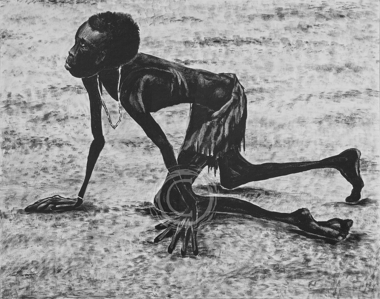 Sudan Famine 1998 Based off of the original photo by Tom Staddart, I was moved by the emotion expressed in the starving boy who had a bag of grain stolen from him by a fully dressed man in sandals. Decades later I am haunted by the knowledge this boy likely did not survive, and he would have been younger than me. Acrylic on Canvas.
