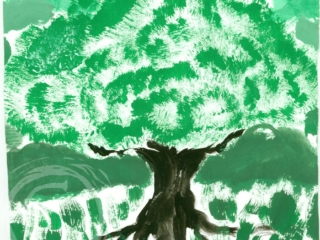 This color exercise used white and black to tint and shade the base green tempera paint in this impressionist tree painting. Tempera Paint on Paper