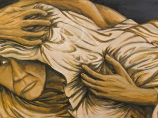 This painting only uses four colors and one brush to depict a man clutching himself under a sheet. The longer the viewer looks at the piece, the more they understand the horror of the body that lies beneath. Acrylic on Canvas