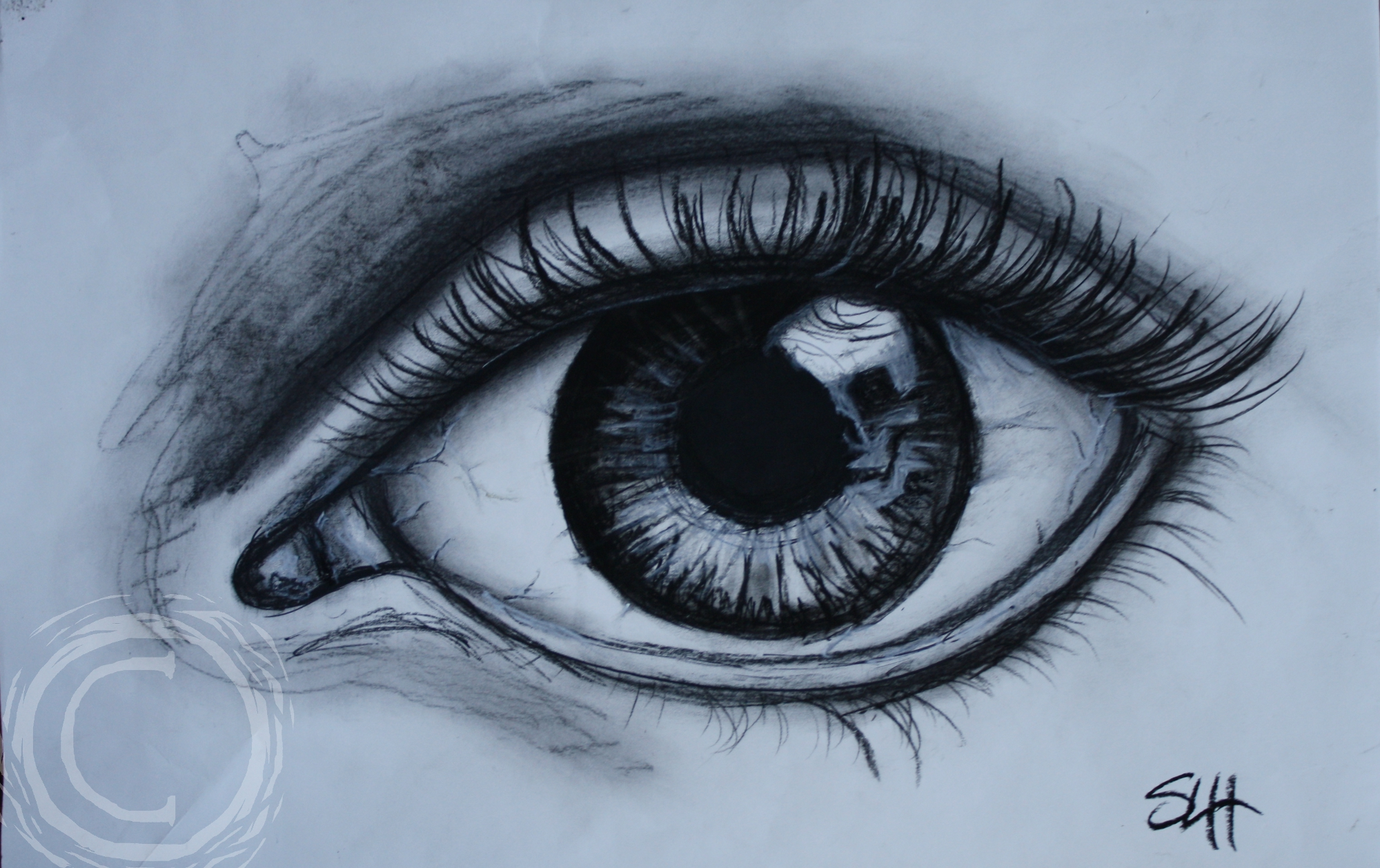 This eye portrait of a woman named Cynthia has a memento mori in the eye reflection. Charcoal and Oil Pastel on Paper.