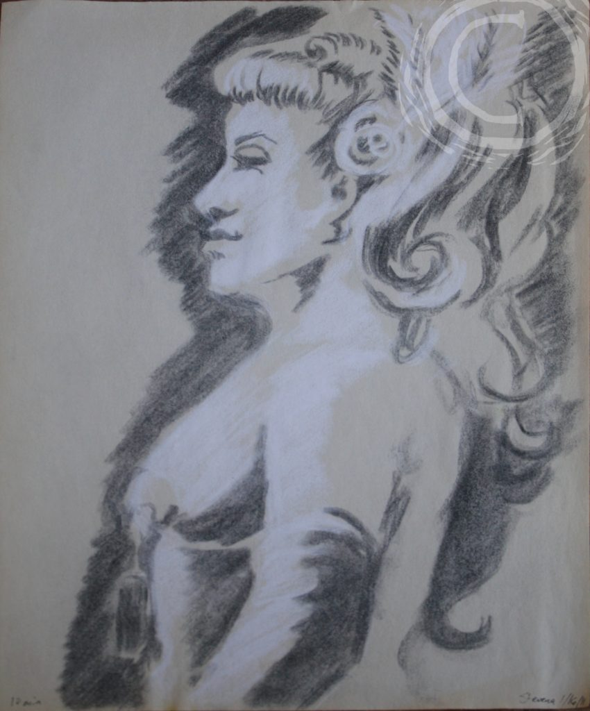 This charcoal and chalk sketch portrait of a burlesque dancer was made in a 10 min sitting.