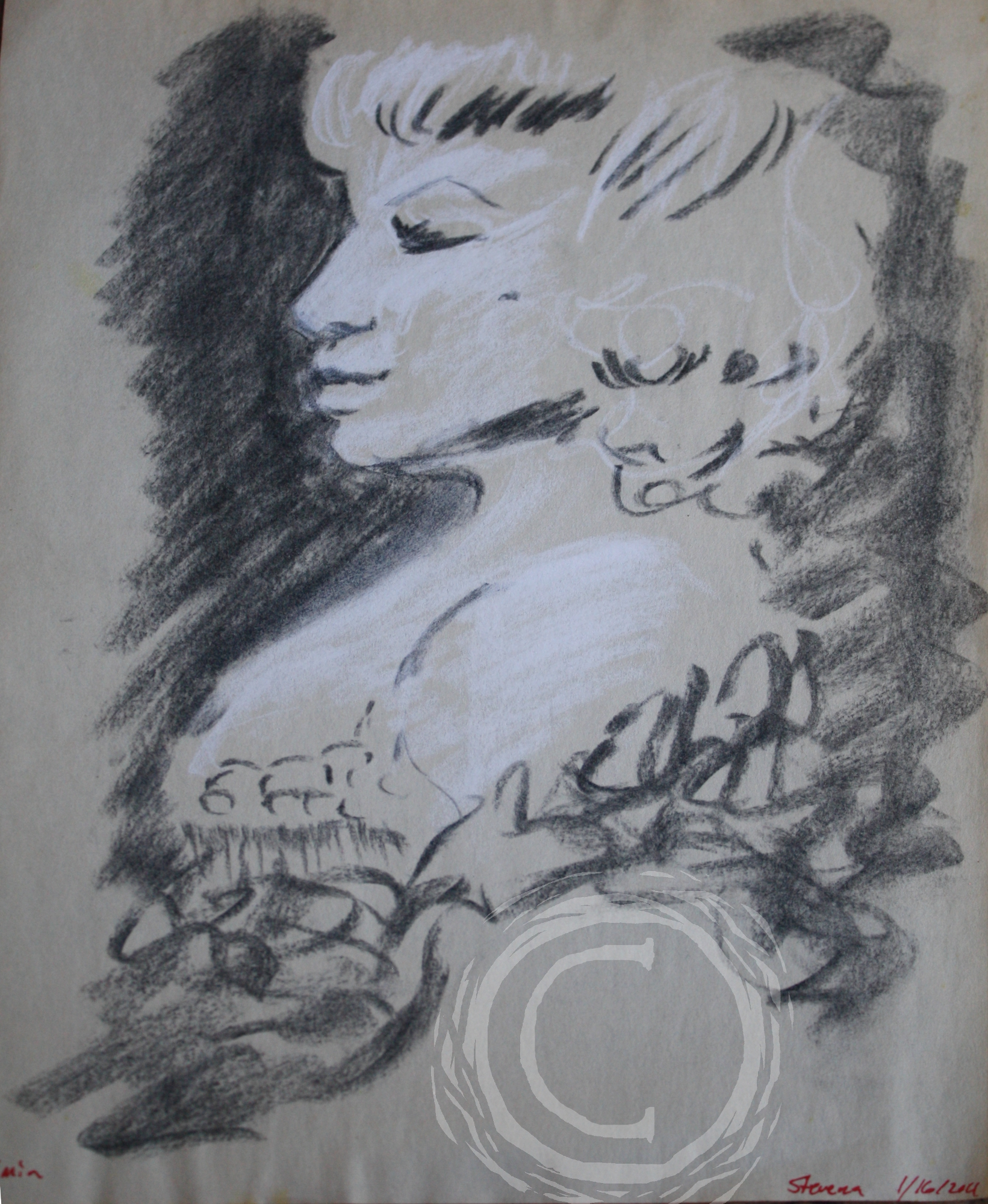This charcoal and chalk sketch portrait of a burlesque dancer was made in a 5 min sitting.