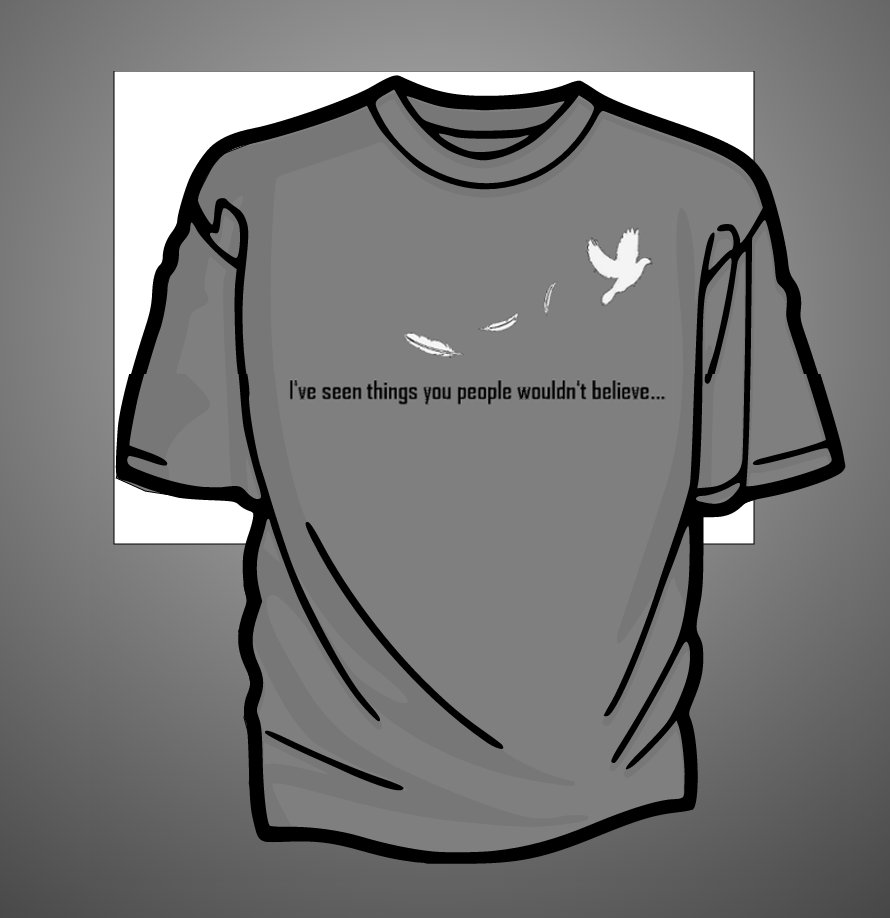 This tee design was created for the nonprofit Merchants of Deva in their 2014 NorWesCon event with a Bladerunner theme. All copyrights belong to that client.