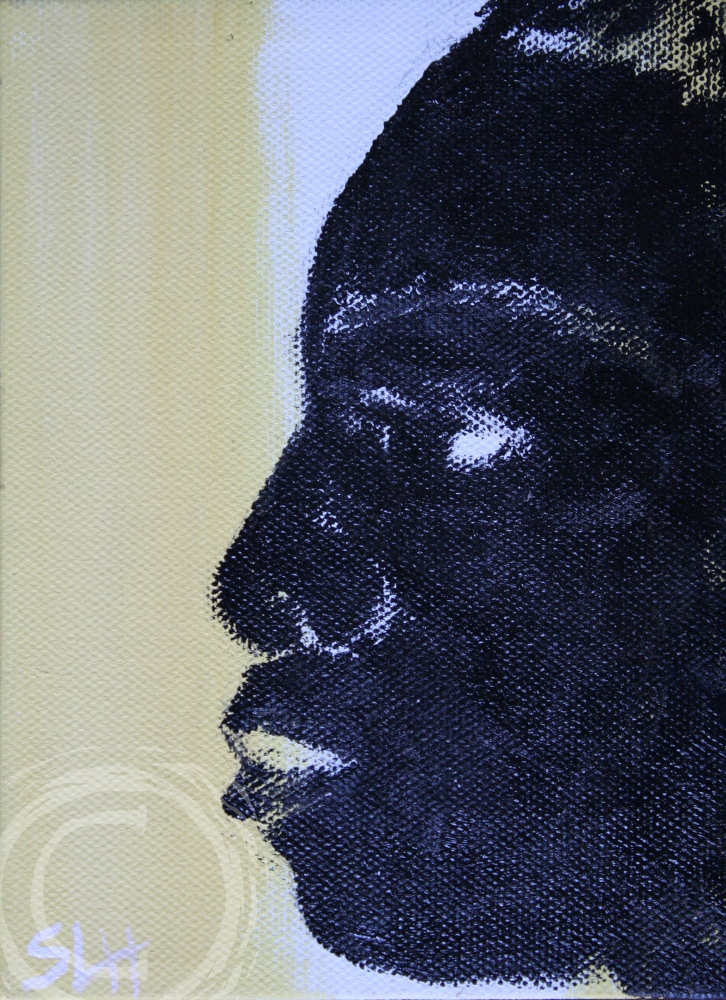 This profile portrait of a young woman named Beautiful uses yellow and white negative space behind gloss black foreground to reveal her unique face.