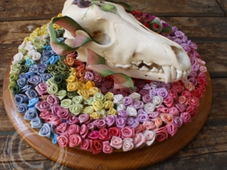 This 3D collage uses a coyote skull mounted on a wooden round covered in multicolored silk ribbon roses. On the forehead of the skull is an ink and color pencil drawing of a black rose. Through the eyes and jawline of the skull a pink and green variegated wire ribbon is curled to give the impression of a bow. Blue Ribbon Winner at Kittitas County Fair Fine Arts Competition.